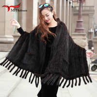 Winter Mink Knitted Knit Shawl Women Real Fur Scarfs With Buttons Solid Color Leisure Thick Mink 100% fur luxury  Scarf women