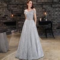 CEEWHY Off Shoulder Sequin Evening Dress Vestido de Festa Prom Gowns Abendkleider Dubai Formal Dress Evening Gown for Women