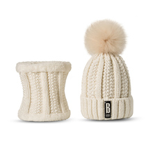 2017 New Knitted Winter Hat Scarf Set Women Thick Cotton Beanies And Ring Scarf Female Knitted Winter Accessories Girls Gift