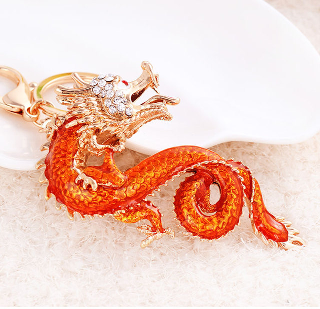 2 Colors Twelve Zodiac Dragon Keychain Rhinestone Animal Keychains Car Key Ring  Girls Bag Pendant Creative Gift