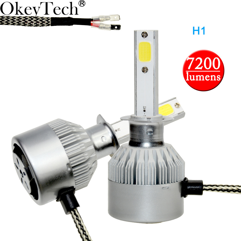 Okeytech 2Pcs H1 LED COB S2 Auto Car Headlight H1 72W 7200LM High Low Beam Bulb Automobile Lamp 6000K 12V LED headlight kit 12v led light auto headlamp h1 h3 h7 9005 9004 9007 h4 h15 car led headlight bulb 30w high single dual beam white light