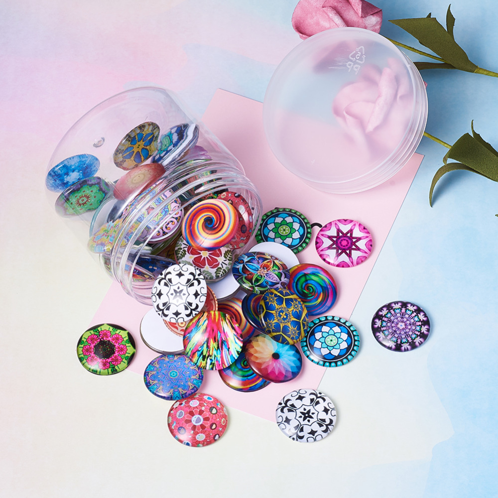 Image 4 - 200pc Mixed Color Mosaic Printed Glass Half Round/Dome Cabochons Jewelry Findings for DIY 10mm 12mm 14mm 16mm 18mm 20mm 25mm-in Jewelry Findings & Components from Jewelry & Accessories