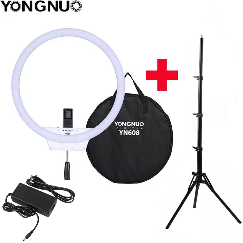 Original YongNuo YN608 Selfie Ring Light 3200K~5500K Bi-Color Temperature Wireless Remote LED Video Light With Handle Tripod