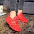 DreamShining Женщины Повседневная Обувь Мода Твердые Плоские Удобные Дышащие Суперзвезда Тренеров Красные Нижние Ультра Повышает Zapatillas