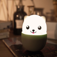 Cute Dog Bedside Led USB Night Light Touch Cartoon Bed Lamp Soft Puppy Kids Room Decoration Toys Tea Cup Small Gift Night Lights