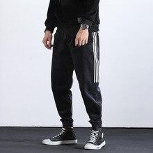 Japanese Style Fashion Joggers Pants Men Black Loose Fit Corduroy Harem Streetwear White Stripe Hip Hop Cargo Hombre
