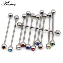 Alisouy 1pc Double Crystal ball long Straight Ear Industrial earrings Barbells ear bone ring tragus Piercing Jewelry tunnel ring
