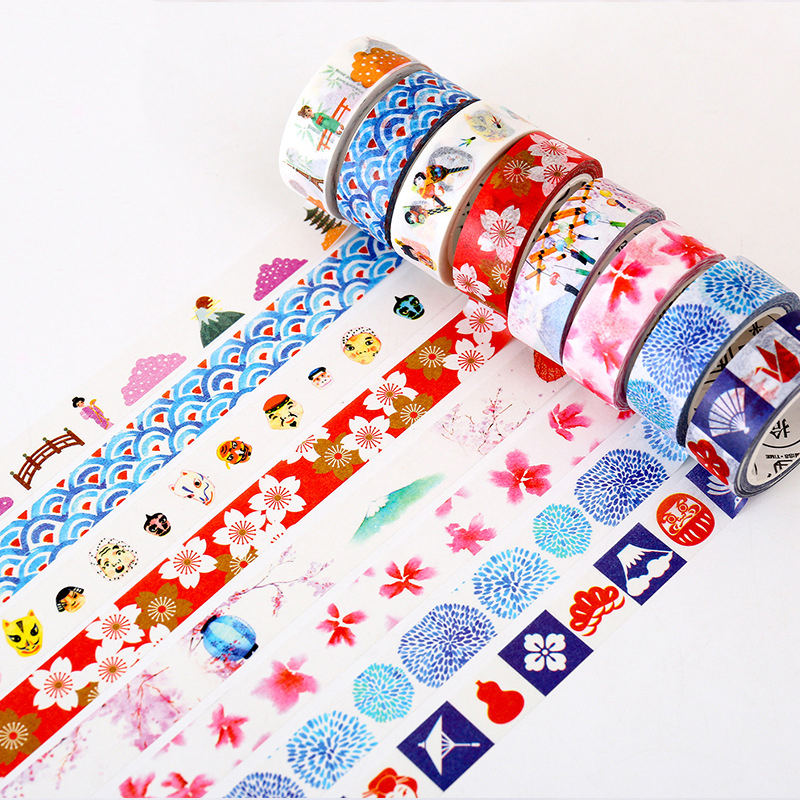 1 PCS Summer of The Sea DIY Washi Tapes Stationery Masking Tape Decorative Adhesive Tapes School Supplies 15mm*8m