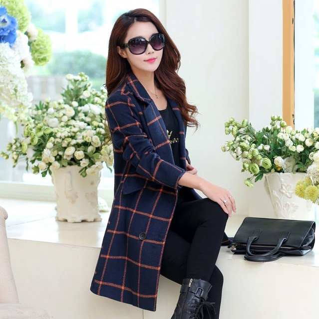 Woolen coat outerwear women 2016 autumn and winter slim medium-long plus size plaid casual women jacket