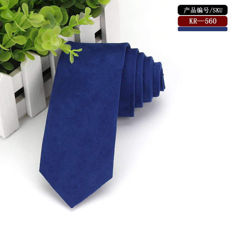 New Fashion Navy Blue Micro Suede Ties Vintage Skinny Leather Necktie Gift For Man