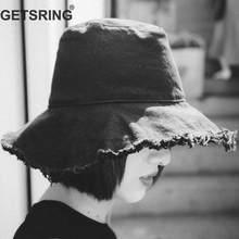 Rebarba GETSRING Mulheres Chapéu Chapéus de Verão de Algodão Mulheres Praia  Chapéus Mulher Angustiado Personalidade Viseira 1d121481fd6