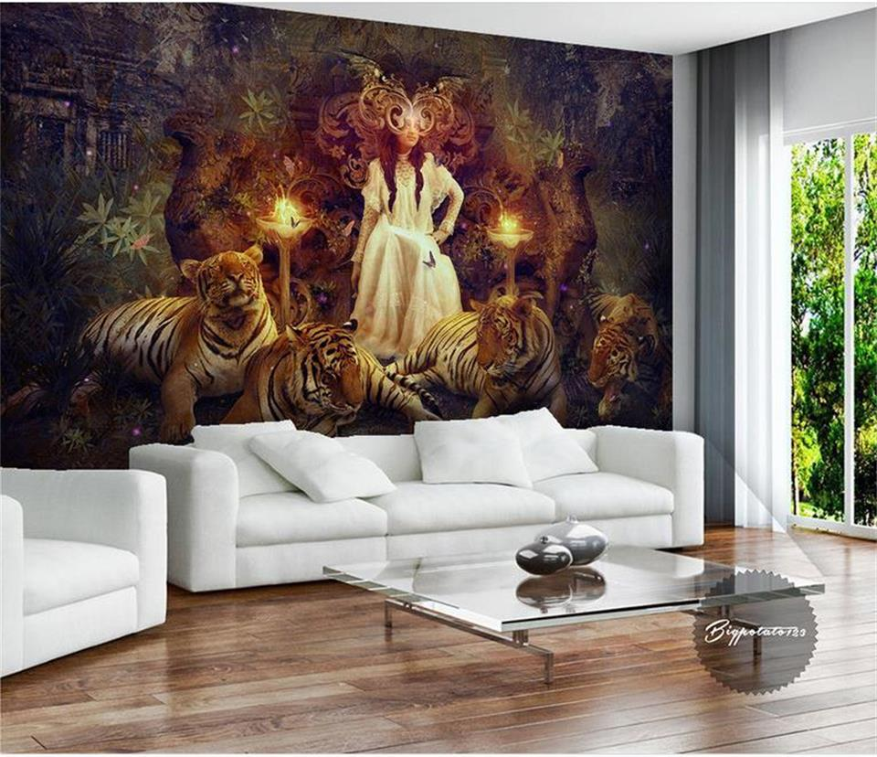 online get cheap white tiger wallpaper aliexpress com alibaba group custom 3d wallpaper photo wallpaper mural for living room white skirt beauty and tiger oil painting photo mural wall sticker