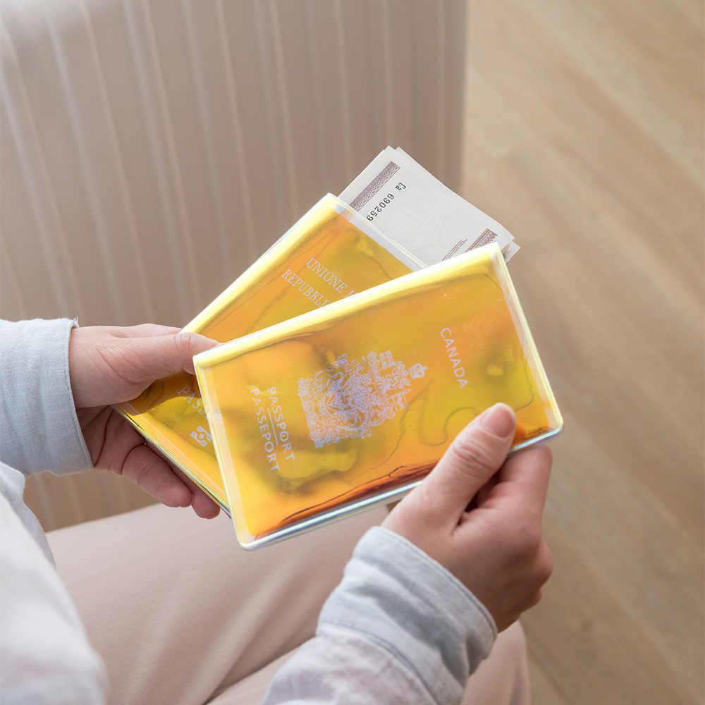 Moda laser błyskotka pcv posiadacza paszportu paszport okładka do przechowywania kobiet organizator etui na karty Busines karty kredytowej portfel akcesoria podróżne