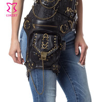 Black Rivet PU Leather Vintage Steampunk Waist Bag For Women Men Punk Rock Crossbody Bags Match