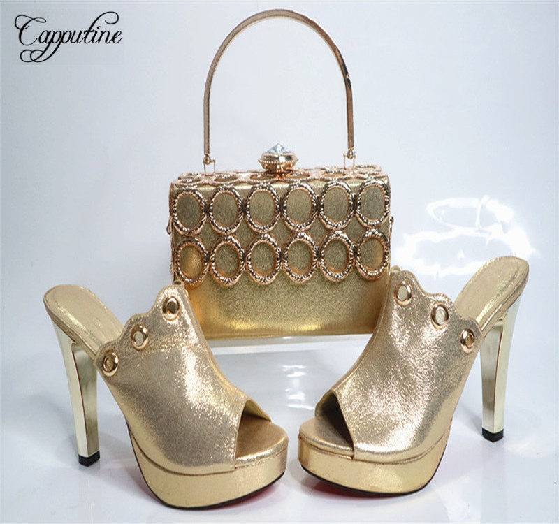 Фотография Capputine 2017 Italian Soft PU Leather Metal Shoes And HandBag Set African Style Woman Pumps Shoes And Purse Set For Party G24