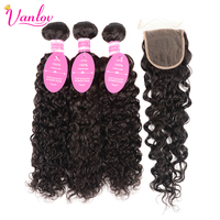 Vanlov Water Weave Human Hair With Closure Free Part Brazilian Hair Weave Bundles With Closure Swiss
