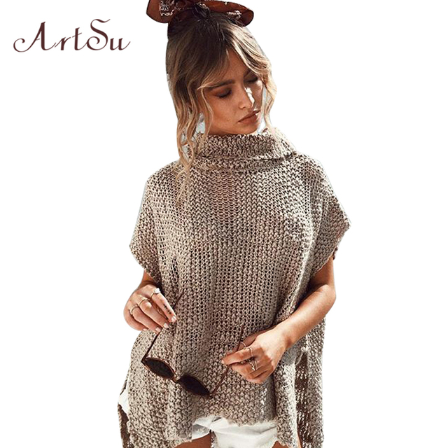 Aliexpress.com : Buy ArtSu Women Loose Solid Turtleneck Sweater ...