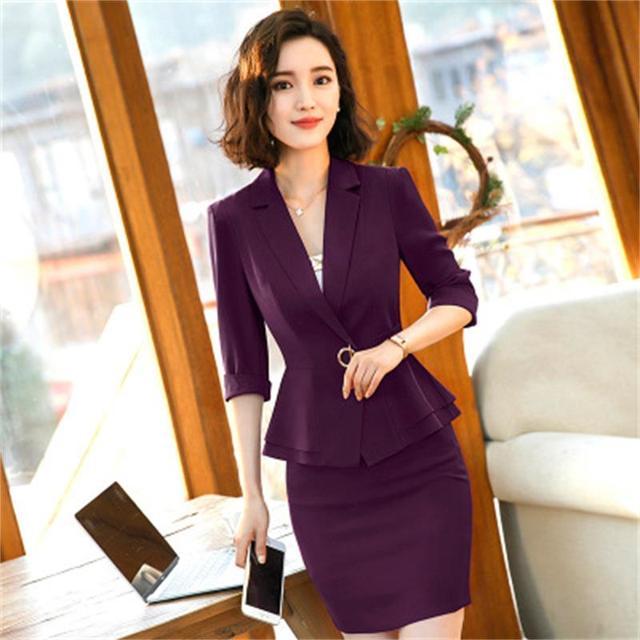 e20d296034 2018 nueva moda mujer de negocios de oficina traje falda con media manga  blazer conjunto más