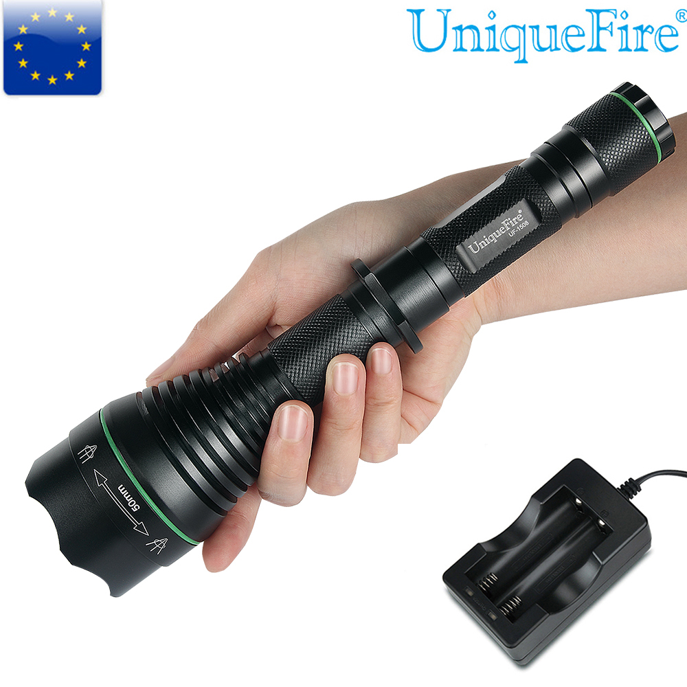 UniqueFire 1508 T50 Cree XM-L Led Bulb Bright Zoomable Adjustable Focus 5 Modes Flashlight +Two Slot Charger For 18650 Battery uniquefire 5 modes t20 cree xml2 rechargeable led flashlight 1200 lumens lamp power for 18650 battery charger