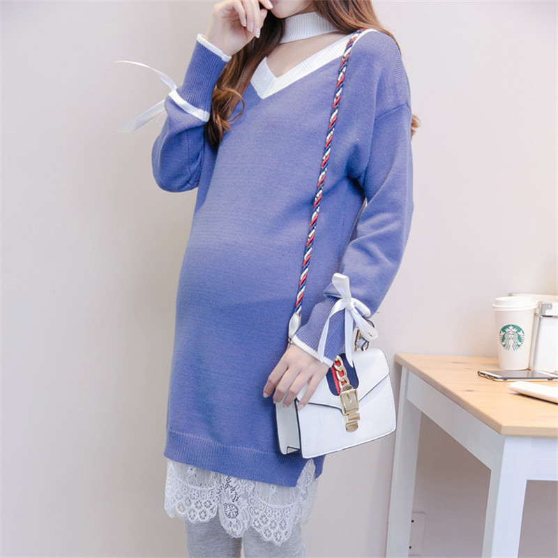 Pregnant Women Long Pullover Winter Knitted Sweater V-neck Contrast Color Casual Maternity Clothings Full Sleeve Knee-Length