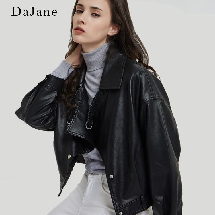 DaJane New   Leather   Women Short BF Wind Big Lapel Korean Fashion Motorcycle Jacket PU Jacket
