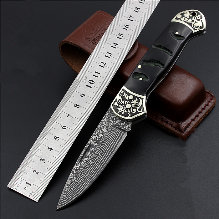 2017 New Free Shipping Damascus Black Antelope Tactical Folding Knife Outdoor Portable High Hardness Wilderness Survival Knives high quality army survival knife high hardness wilderness knives essential self defense camping knife hunting outdoor tools edc
