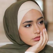 Полное покрытие Внутренняя шапочки под хиджаб мусульманский тюрбан шляпа для женщин исламский шарф капот сплошной модал шеи головы под шапки, шарфы