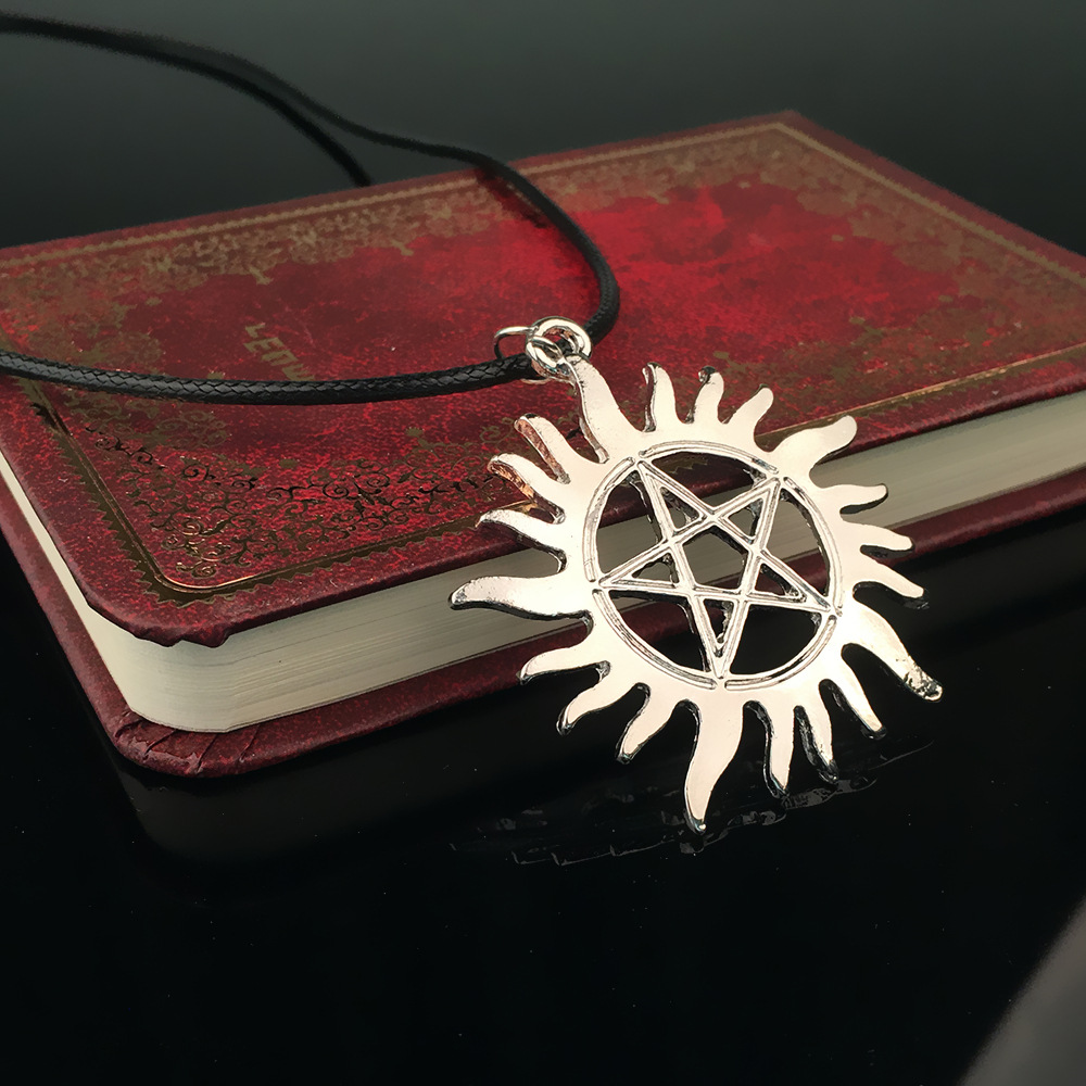 Five-pointed Star <font><b>Sun</b></font> Pendant Necklace Supernatural Star Evil rope-chain Necklace for man or woman fasion <font><b>jewelry</b></font> 2017 image