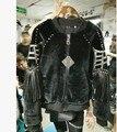 2016 новая зимняя тяжелая заклепки из бисера кистями свободно бархатная куртка