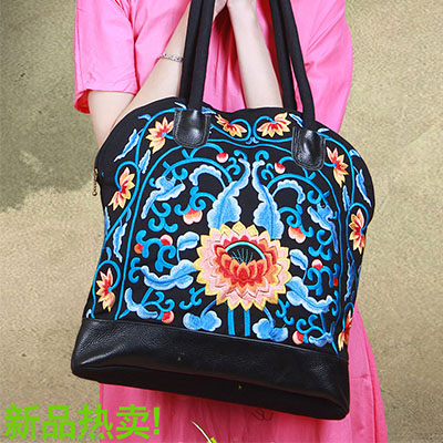XIYUAN BRAND women fashion Original national wind Embroidered Fight side canvas embroidery Lotus shoulder bag hand bags for girl