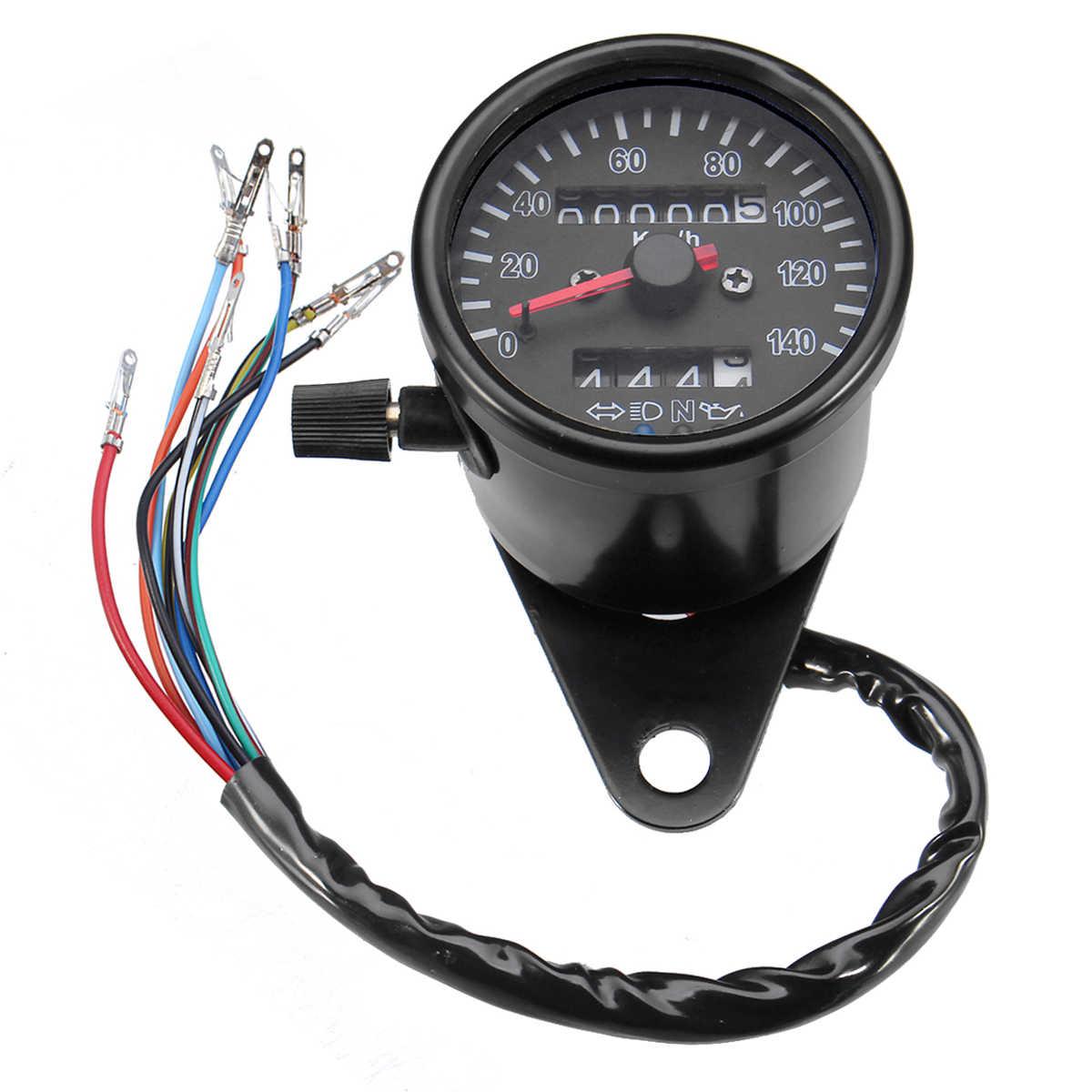 12V Motorcycle Retro Odometer Speedmeter Gauge with LED Indicator Turn  Signal Light Headlamps Neutral Gear Oil Warning Light