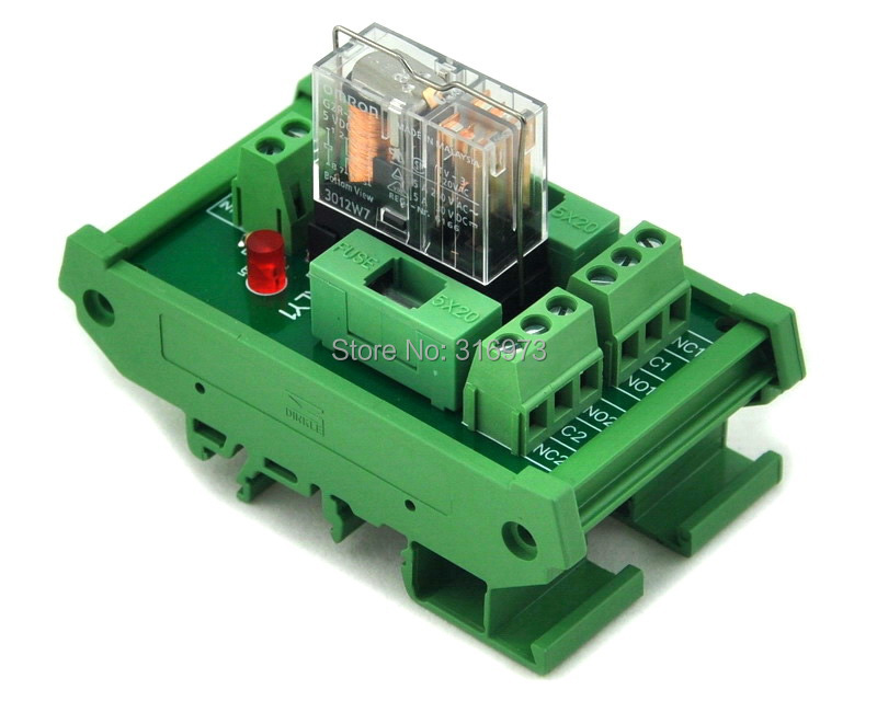 DIN Rail Mount Fused DPDT 5A Power Relay Interface Module, G2R-2 5V DC Relay.