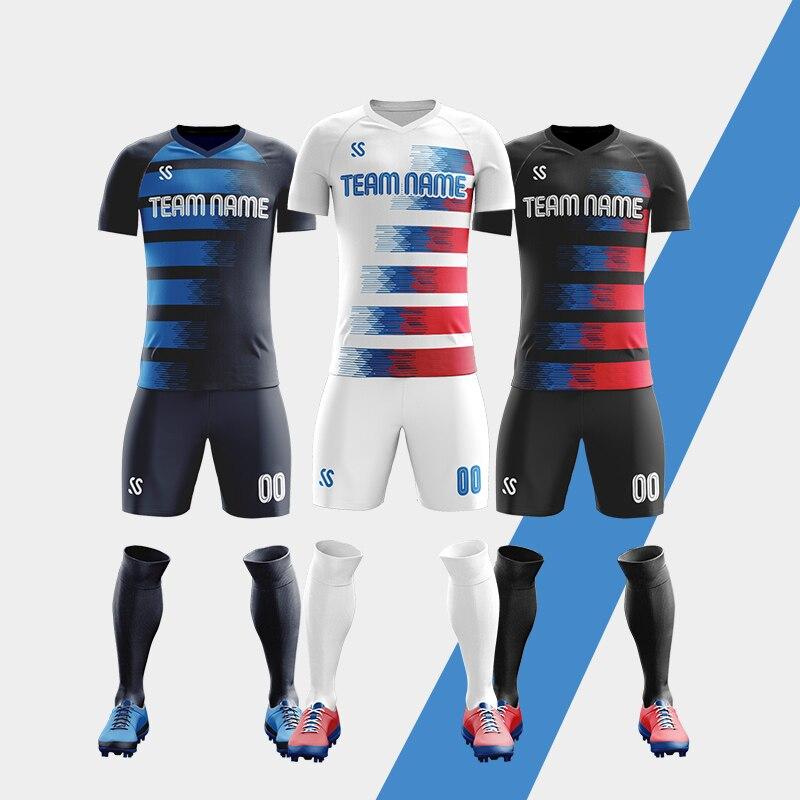 Conjuntos de Camisas de Futebol Feitos sob Encomenda da Camisa do Futebol dos Jogos de Futebol dos Homens Feito sob Encomenda Livre do Número do Nome & do Miúdo da Temporada Homens Nova Logotipo 19-20 dos
