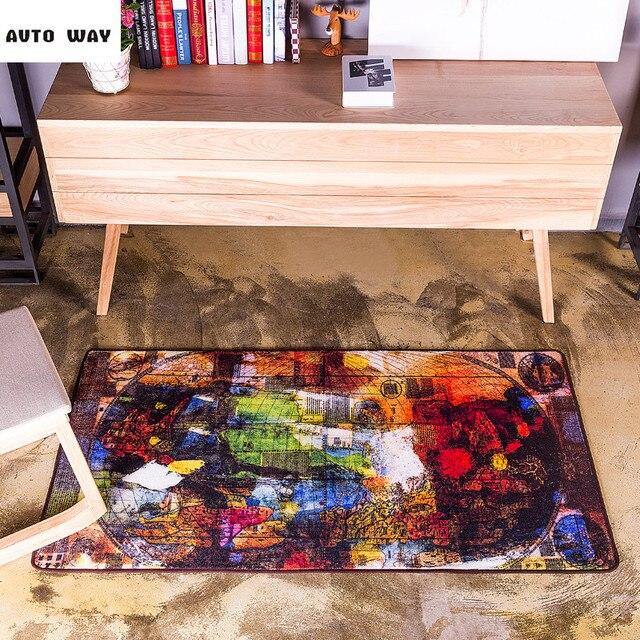 Retro Abstrakte Kunst Warme Farben Weltkarte Teppich Flur Matte Nacht  Matten Schlafzimmer Flur Fußmatte Kostenloser Versand