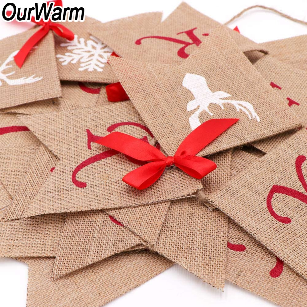... Wine Bottle Bag  Aliexpress.com Buy OurWarm Merry Christmas Burlap  Banner Christmas Banner New Year Christmas Decorations for ... d2fb1b31268bc