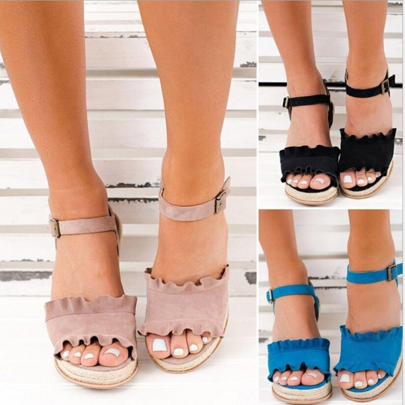 Boucle Mujer forme Wedge Bride F180617 Pompes Zapatos Dames pink Femmes Plate Sandales Black Chaussure Chaussures Haute Femme Chanvre blue Arrière Vintage Talons xqaw4tFp