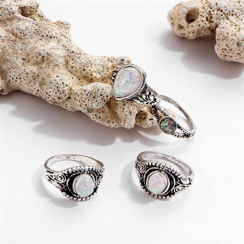 Romad 2018ใหม่ที่มีเสน่ห์8ชิ้น/เซ็ตแฟชั่นผู้หญิงแหวนโอปอลชุดวินเทจหินปรับขนาดได้โบฮีเมียนแหวนชุดเครื่องประดับAnillos Z3