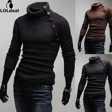 2017 Men casual male slim pullover turtleneck sweater solid color