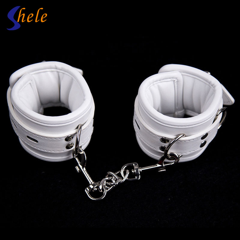 1 Pair Soft Black PU Leather Hand Cuffs Couple Games Toy Restraint Bondage Chain Sex