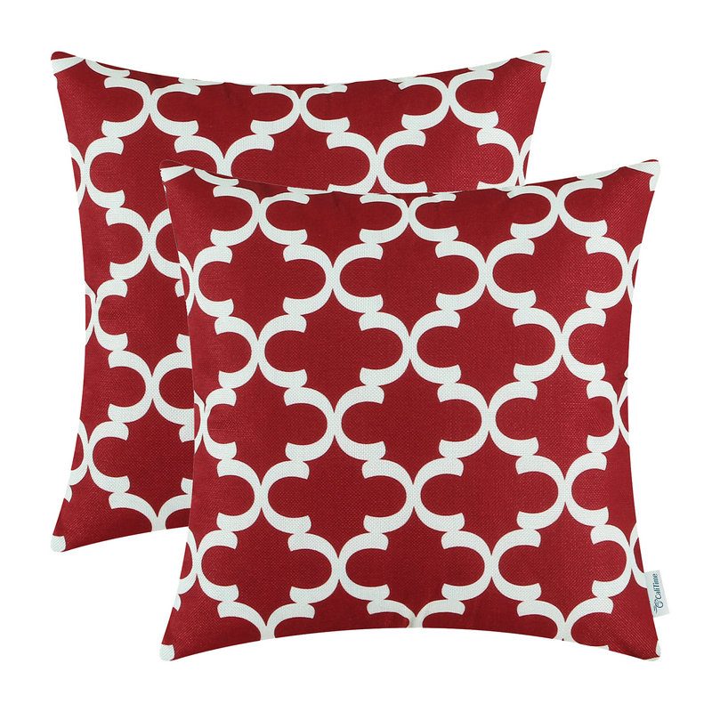 2PCS Square CaliTime Burgundy Cushion Cover Pillows Shell Quatrefoil Accent Geometric Home Sofa Decor 18 X 18(45cm X 45cm)