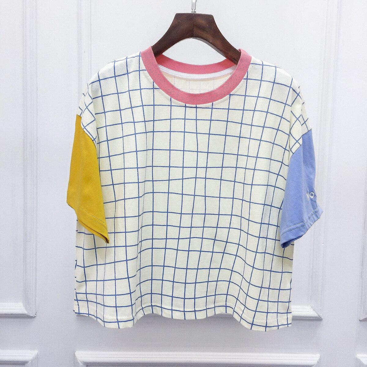 japanese-font-b-senna-b-font-plaid-letters-loose-bat-sleeve-short-sleeved-t-shirt-female-19279