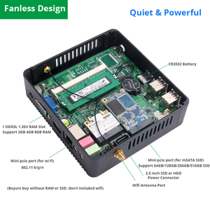Image 5 - 미니 PC 인텔 펜티엄 4405U Windows 10 DDR3L RAM mSATA SSD HDMI VGA 6xUSB 300Mbps WiFi 기가비트 이더넷 NUC HTPC 팬리스