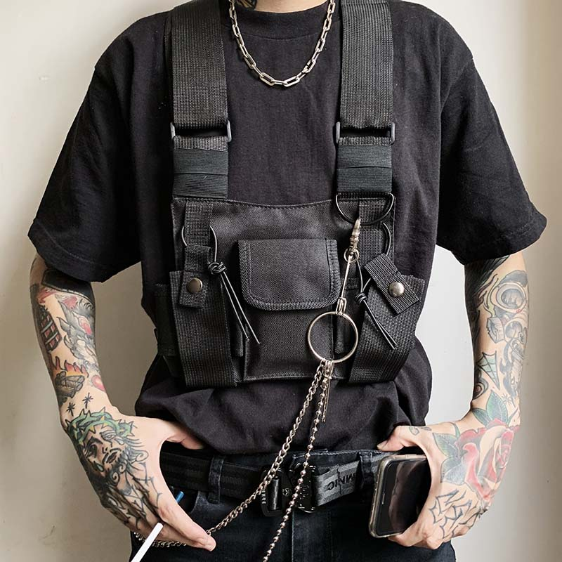 Street Style Military Chest Rig Bag For Men Black Hip Hop Functional Waist Packs Adjustable Vest Waistcoat Fashion Chest Bags