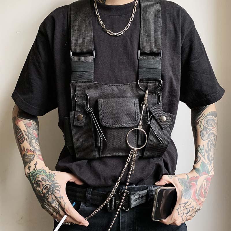 Street Style Military Chest Rig Bag For Men Black Hip Hop Functional Waist Packs Adjustable Vest Waistcoat Fashion Chest Bags
