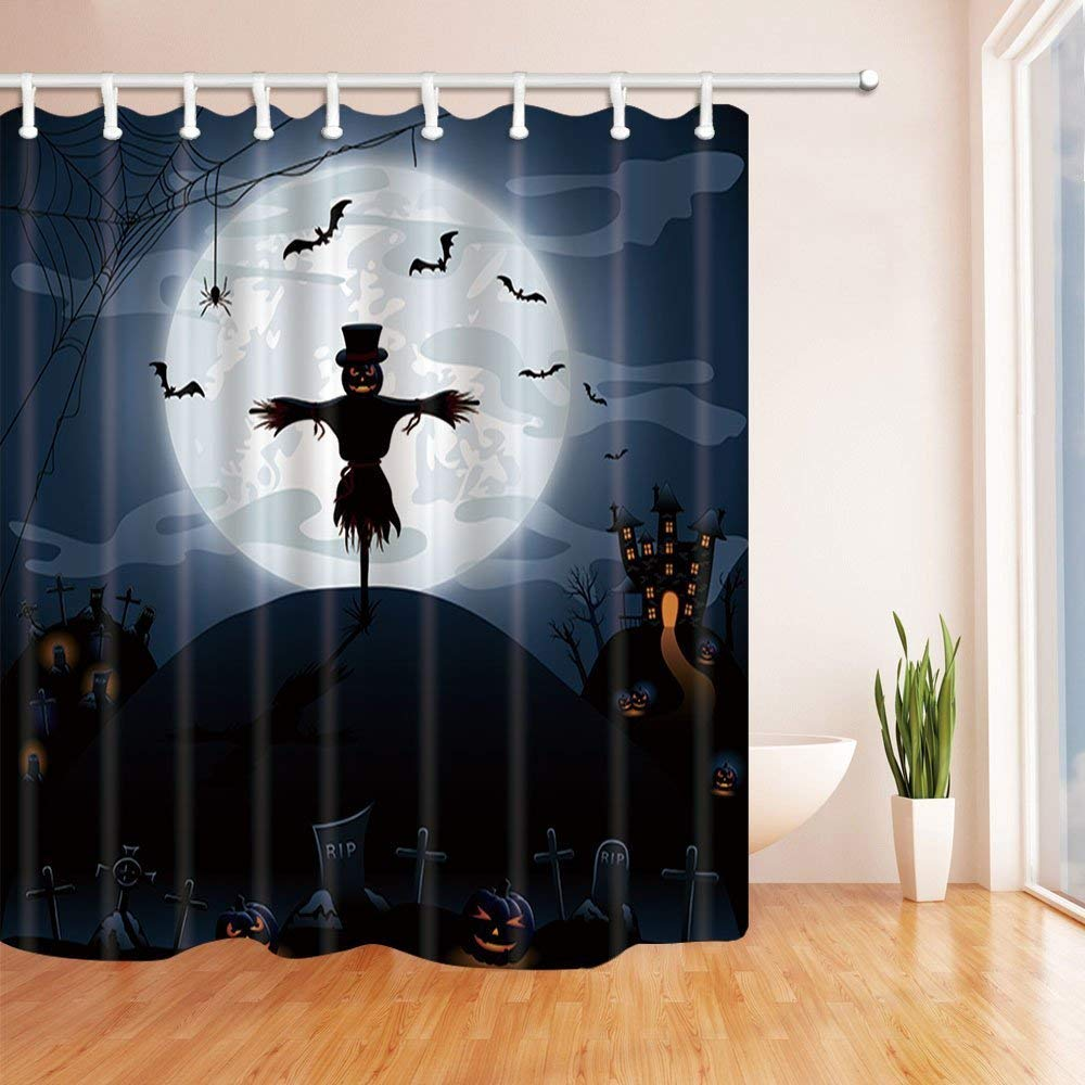Scarecrow Shower Curtains Halloween Night Background With