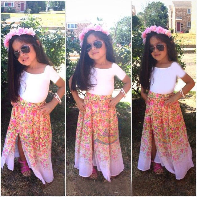 d30580f92e &E-babe&Wholesale 2016 New Baby Girls Clothing Sets 2 Pcs White T-Shirt+Print  Floral Long Skirt Toddler Kids Casual Suit Clothes