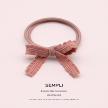 High Quality Popular Solid Elastic Hair Bands Handmade bow-knot Rubber Band Basic Bow Elasticity Accessories Scrunchie