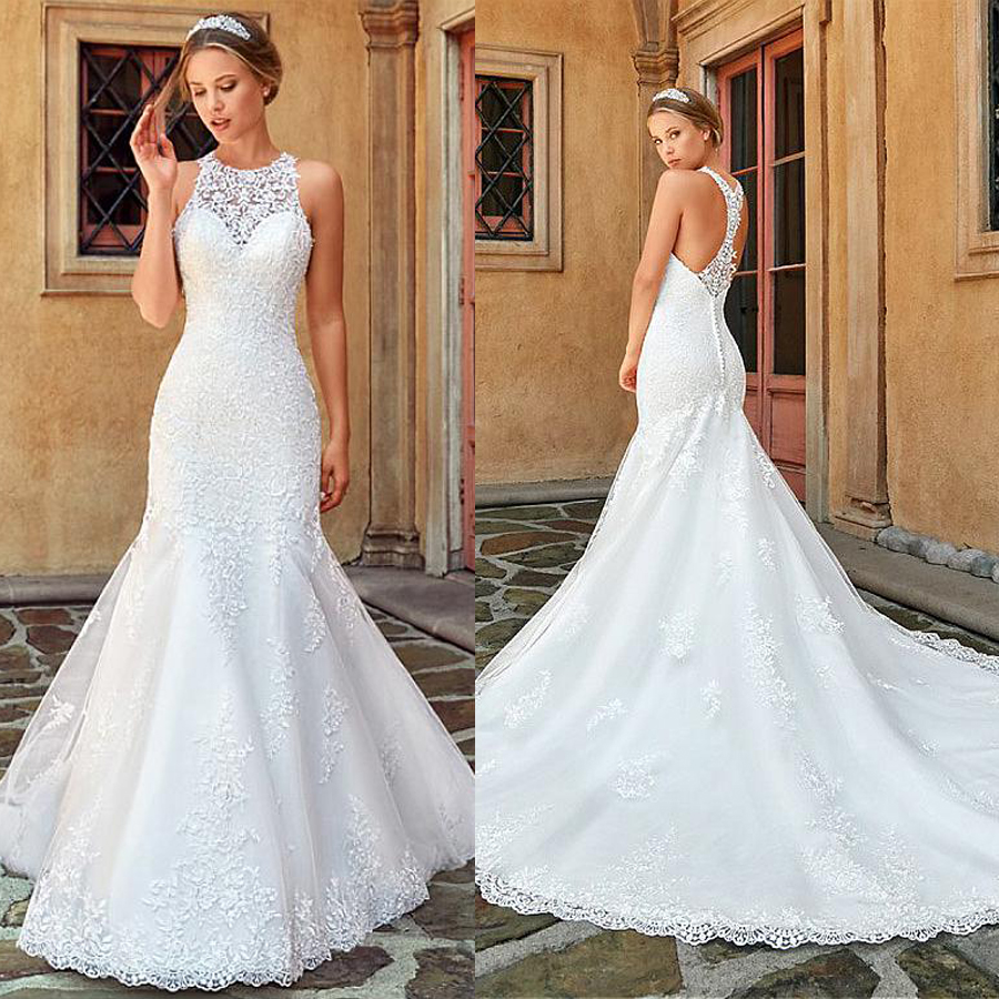 Sexy Mermaid Wedding Dresses Tulle Halter Neckline Mermaid Wedding Dress With Lace Appliques Bridal Gown Robe De Mariee