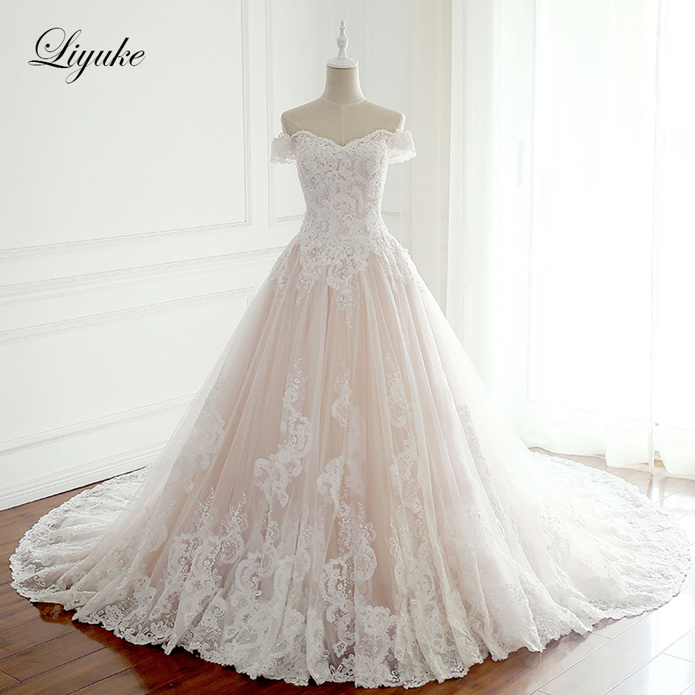 Liyuke Pink Satin A-Line Wedding Dresses Strapless Sleeves Wedding Gown Appliques Vestido De Noiva Beading