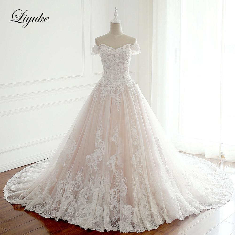 Liyuke Rosa de Cetim A Linha de Vestidos de Casamento Strapless Mangas Do Vestido De Casamento Apliques Vestido De Noiva Beading